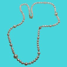 """Stunning Vintage Faux Pearl 30"""" Necklace Gold Tone Spacers & Filigree Clasp"""
