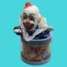 Send in the Clowns Musical Clown in a Drum Vintage Music Box