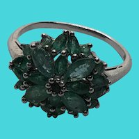 Stunning Art Deco Sterling Silver & Emerald Floral Flower Cluster Ring Size 10
