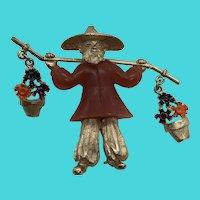 Asian Figural Flower Peddler Man - Vintage Gold Tone Brooch / Pin