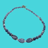 "Stunning Vintage Blue Sodalite Stone Carved Fish Beaded 18"" Necklace"