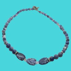 """Stunning Vintage Blue Sodalite Stone Carved Fish Beaded 18"""" Necklace"""