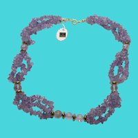 "Stunning Vintage Amethyst Chip & Bead 18""  Necklace - Made in India"