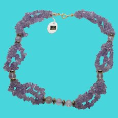 """Stunning Vintage Amethyst Chip & Bead 18""""  Necklace - Made in India"""