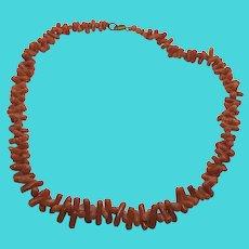 """Unique Vintage 14"""" Faux Branch Coral Short Choker or Child's Necklace"""