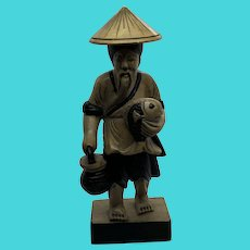 """Vintage Carved Stone Statue Figurine of Asian Man Holding a Koi Fish 7"""" Tall"""