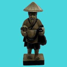 Vintage Carved Stone Statue Figurine of Asian Man Holding a Cobra Snake