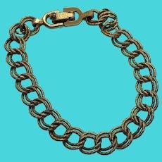 """Vintage MONET 7"""" Gold Tone Charm Bracelet Double Link Chain"""