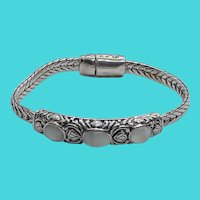"Stunning Premier Designs Vintage Silver Tone Glass Cabochon 7.5"" Bracelet"