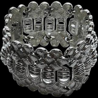 Stunning Coro Pegasus Vintage 1960's Thick Silver Tone Bracelet