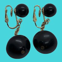 Stunning Crown Trifari Gold Tone & Black Vintage Clip On Dangly Earrings