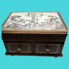 Linden Vintage Wooden Musical Jewelry Music Box  - Japan