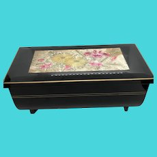 First Business Co. Yokohama Vintage Black Lacquer Musical Jewelry Box Music Box