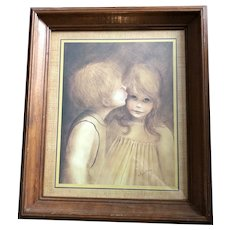 """A Little Kiss - Nicely Framed Art Print Picture by Margaret Kane Vintage 17""""x20"""""""