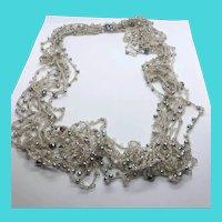"""36"""" Long Beige & Silver Tone Multi Strand Beaded Crochet / Macrame Necklace"""
