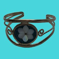 Stunning Vintage Alpaca Mexico Small or Childs Size Cuff Bracelet