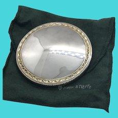Kirk Stieff Vintage Hand Held Dresser / Purse / Compact Silver Plate Mirror