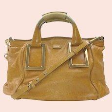 Authentic Chloe Ethel Light Brown Heavy Leather Shoulder Bag / Purse / Handbag