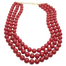 Fun Bold Vintage Red Plastic Bead Multi Strand Layered Statement Necklace