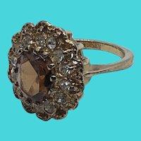 Vintage 18K Gold Electroplate Rhinestone CZ Art Deco Inspired Ring - Size 7