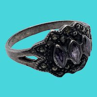 Stunning Art Deco Vintage Sterling Silver, Marcasite & Glass Ring - Size 8