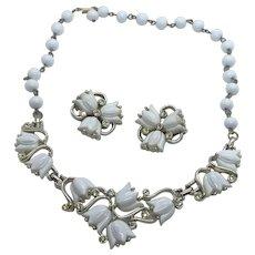 Kramer of New York White Thermoset Flowers & Rhinestones Necklace & Earrings Set