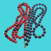"Set of 2 MONET Vintage 32"" Plastic Bead Necklace - Black, Red  & Navy Blue, Gold"