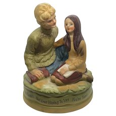 """Sankyo Japan 1971 Vintage Musical Figurine """"Love Means Not Ever Having to Say You're Sorry"""""""