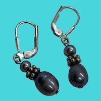 Stunning Vintage Sterling Silver & Cultured Tahitian Black Pearl Dangly Earrings