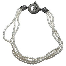 Vintage Cultured Pearl Necklace w/ Ornate Sterling & Marcasite Toggle Clasp Signed JC