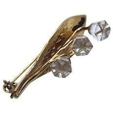 Swarovski Vintage Gold Tone Crystal Flower Floral Leaf Brooch Pin