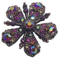 Simply Stunning Joan Rivers Sparkly Crystal Rhinestone Flower Brooch / Pin