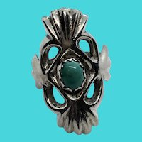 Unique Vintage Size 7.25 Silver & Turquoise Cabochon Handmade Ring