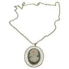 """Fun Vintage Molded Resin Green & White Cameo Pendant on 28"""" Gold Tone Chain"""