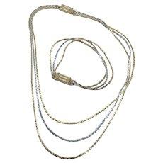 Unique AVON Silver & Gold Tone Triple Strand Convertible Necklace & Bracelet Set