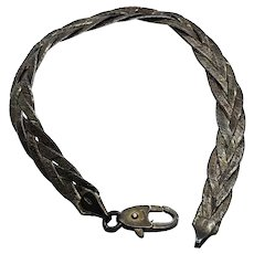 "Unique Braided 925 Sterling Silver 7"" Vintage Bracelet"