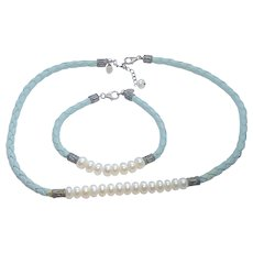 Waldeck Johnson Sterling Silver, Leather & Cultured Pearl Necklace & Bracelet WJ