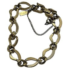 "Monet 7"" Vintage Textured Gold Tone Link Bracelet with Safety Clasp"