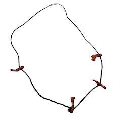 "Unique 14"" Liquid Sterling Silver Tube Bead & Brand Coral Choker Necklace"