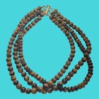 Vintage Multi Strand Tiger's Eye Beaded Gemstone Necklace w/ Sterling Clasp