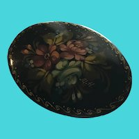 Fun Vintage Russian Hand Painted Floral Motif Black Lacquer Oval Brooch / Pin