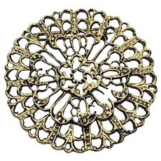 Unique Vintage Gold Tone Filigree Circle Brooch / Pin with C-Clasp