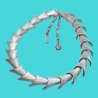 "Unique Vintage Silver Tone 14-16"" Mid Century Choker Necklace"