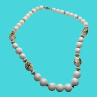 Stunning Vintage White Plastic Bead Necklace w/ Filigree Clasp and Floral Decal Accents