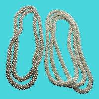Set / Bundle of 2 Faux Pearl Plastic Bead Cluster Vintage Necklaces