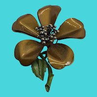 Unique Brown & Green Floral Flower Brooch / Pin