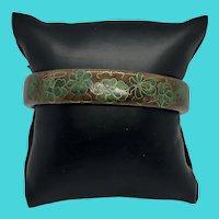 Unique Vintage Metal Cloisonne Green & Brown Floral Bangle Bracelet
