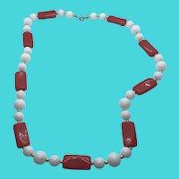 "Unique Red, White & Gold Tone Plastic Beaded 24"" Vintage Necklace"