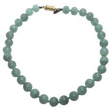 "Les Bernard Vintage Faux Jade Green Glass Bead 14"" Choker Necklace"