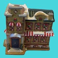 Longrich LTD Vintage 2000 Christmas Coffee Shop Brick Building Decoration